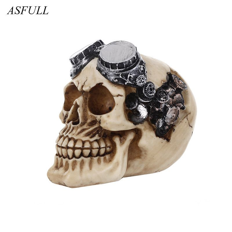 ASFULL Resin Craft Art Painting Statues For Model Replica Decoration Skull Creative Statue Sculpture Home Accessories Halloween