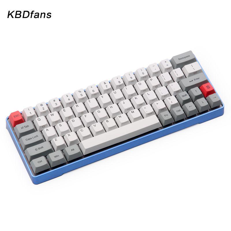 dhl free shipping GK64 Mechanical keyboard 64key metal shell custom light rgb cherry profile kecap dye-subbed keycaps