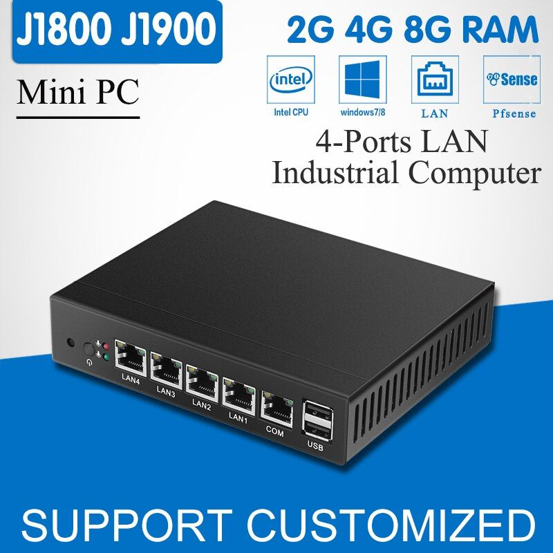 Mini PC Quad Core Celeron J1900 4 LAN Routeur Pare-Feu Sans Ventilateur J1800 Mini Ordinateur De Bureau Windows 10/8/ 7 HD Graphique VGA 4-RJ45