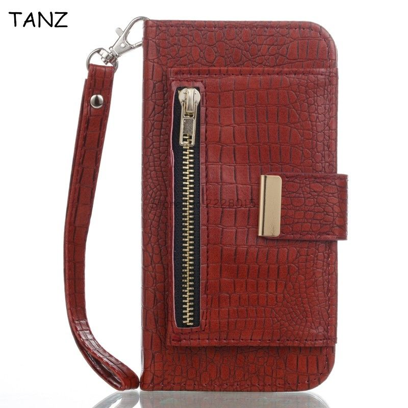 TANZ For iphone X 6 6S 7 8 plus Case Luxury Crocodile Snake Print Leather Flip Cover Wallet Phone Cases Back Cover Zipper Bags