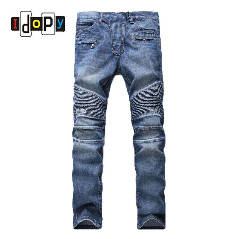 Men's Fashion Brand Designer Ripped Biker Jeans Men Distressed Moto Denim Joggers Washed Pleated Jean Pants Black Blue