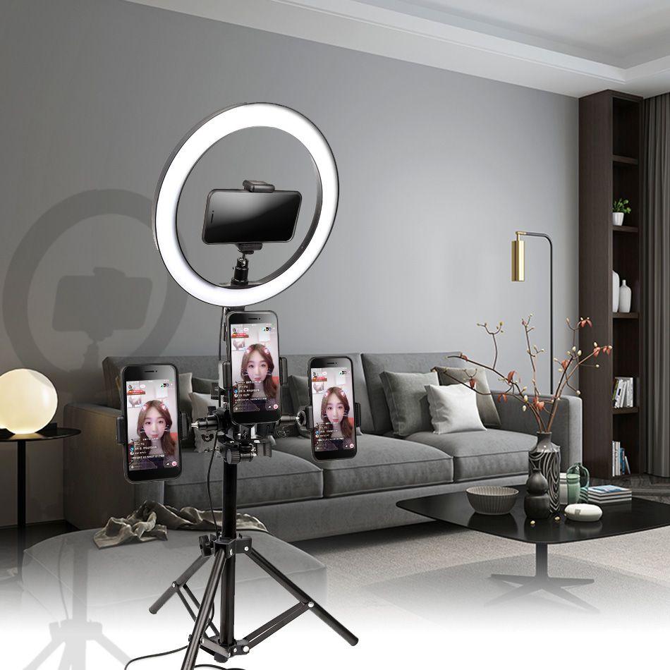 10 pouces 26cm Interface USB Dimmable LED Selfie anneau lumière caméra téléphone photographie vidéo maquillage lampe avec trépied téléphone Clip