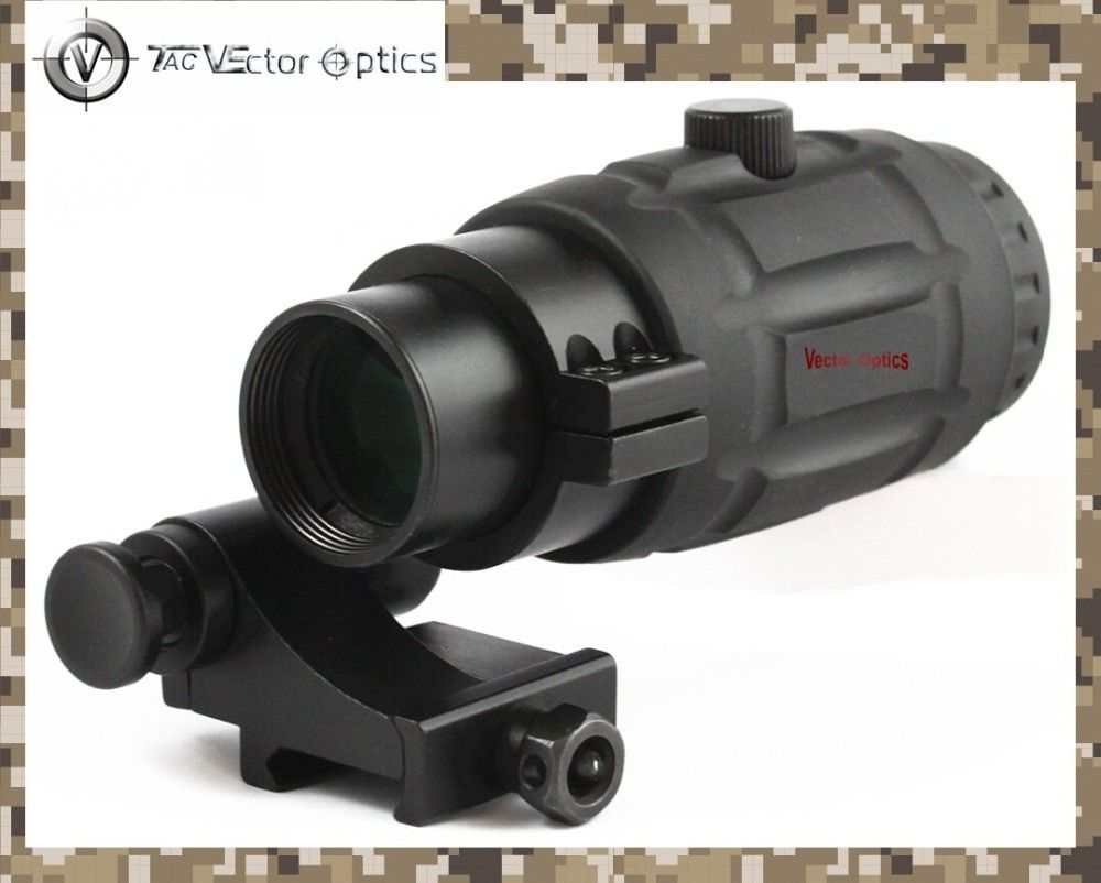 Vector Optics Tactical 3x Magnifier High Quality Quick Flip Scope with Flip To Side Mount Fit For Holographic Sight