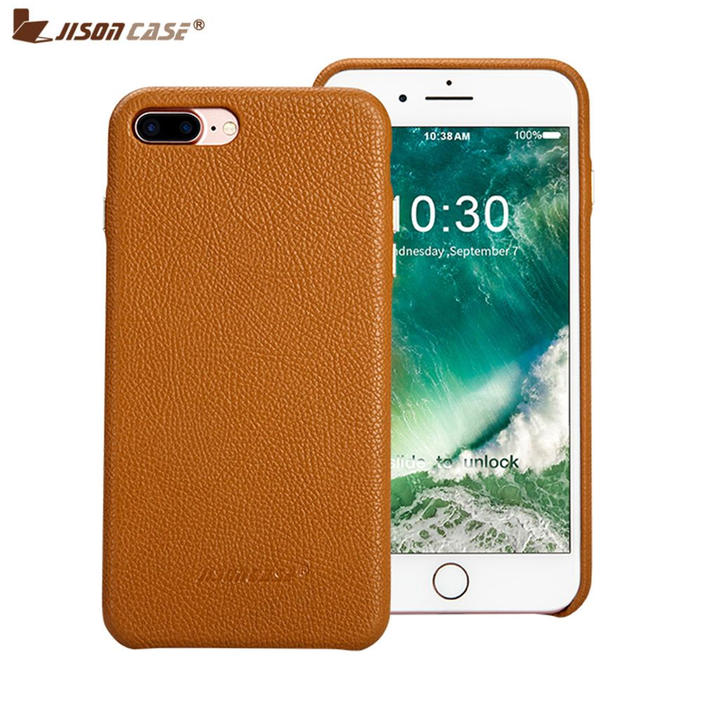 Jisoncase Genuine Leather Case for iPhone 7 8 plus Luxury Protective Shell Fitted Cases for iPhone 5.5 inch Hard Back Cover