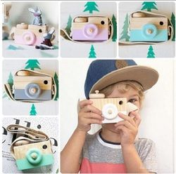 Nordic Cute Wooden Toy Camera Baby Kids Hanging Camera Photo Prop Decoration Children Educational Toy Birthday Christmas Gifts