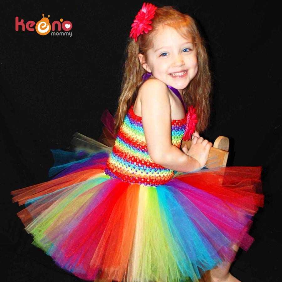Keenomommy Girls Rainbow Tutu Dress and Daisy Hair Clip Set Handmade <font><b>Birthday</b></font> Party Dress Halloween Christmas Costume TS126