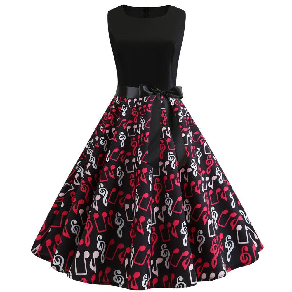 2019 New Music Note Print Women Vintage Dress Summer Sleeveless O Neck Casual Swing Retro Party Midi Dresses Vestido Robe Femme