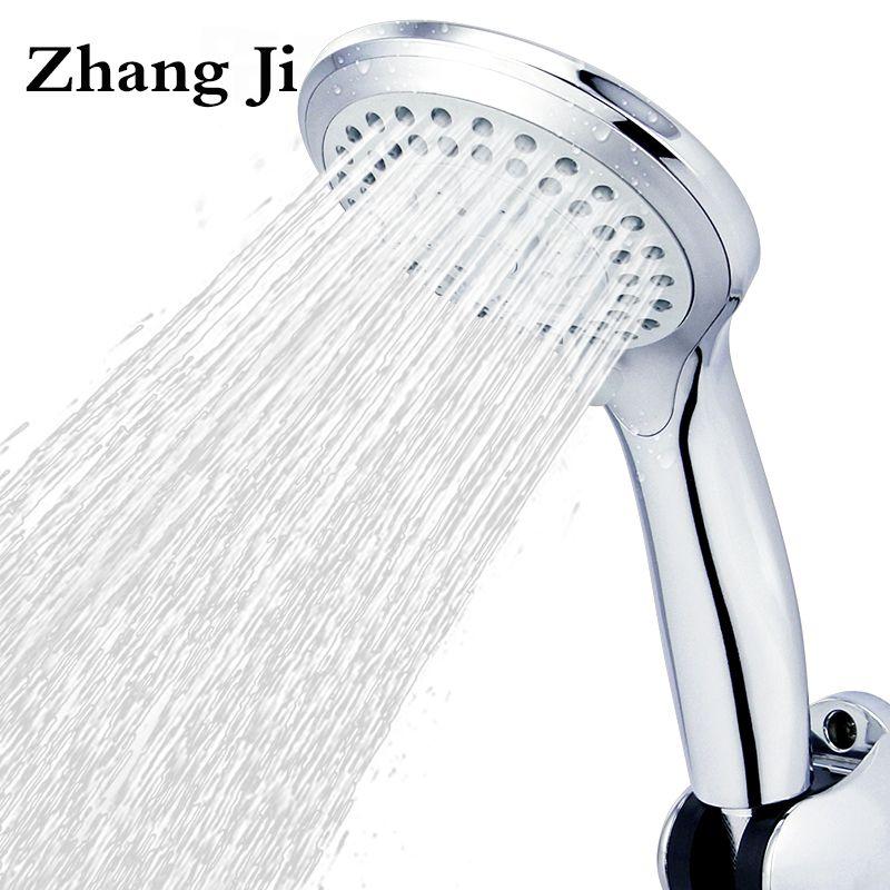 5 modes ABS <font><b>plastic</b></font> Bathroom shower head big panel round Chrome rain head Water saver Classic design G1/2 rain showerhead ZJ039