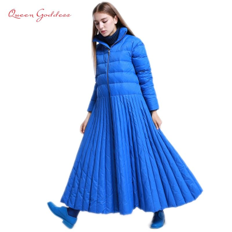 2018 autumn and winter Skirt style long down women jacket special Design coat Blue plus size parkas female and causal warm wear