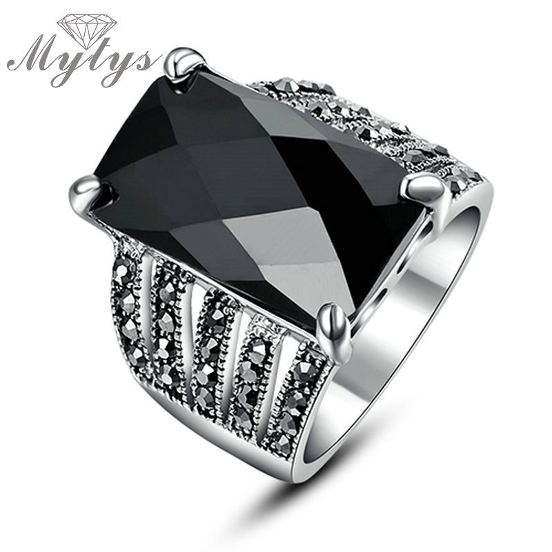 Mytys 2018 Marcasite Black Crystal Square Vintage ring BNIB white gold GP gift Classic Retro rings for women R324