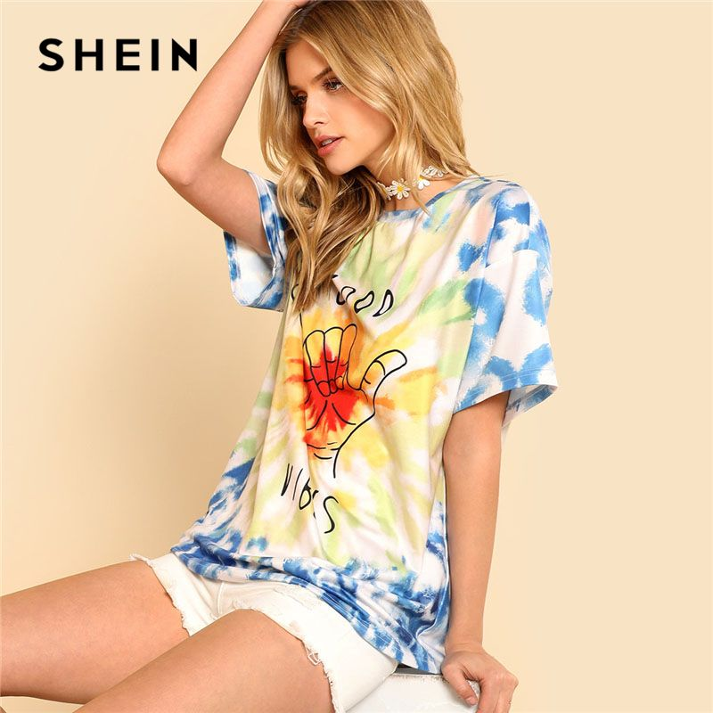 SHEIN Graphic Letter Print Tie Dye Tee Women Round Neck Short Sleeve Casual Oversized Top Tee 2018 Summer Street <font><b>Style</b></font> T-shirt