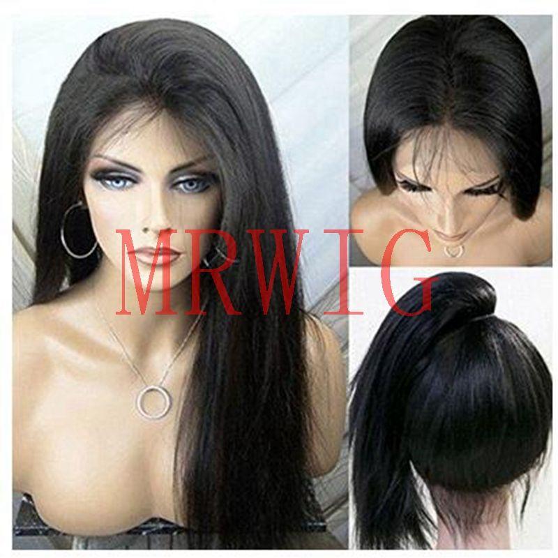 MRWIG cheveux réels Long Yaki droit synthétique dentelle avant perruque sans colle résistant à la chaleur Fiber libre séparation dame femmes