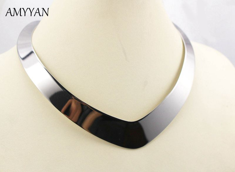 2016 New Hot Sale 316l Stainless Steel Silver Torques Necklace V Shape Collar Choker Jewelry Women Torques Christmas Gift