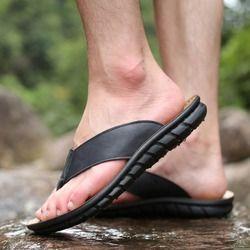 Zjnnk Sapi Kulit Pria Sandal Pantai Fashion Sandal Jepit dengan Sol Lembut Trendi Bernapas Mudah untuk Pria Musim Panas Sepatu