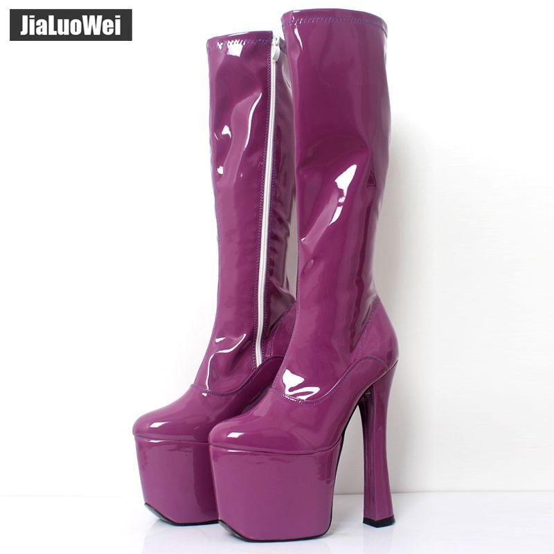 JIALUOWEI 20 cm extrême haut talon épais Chunky talons plate-forme femmes genou-haut bottes longues-exotique, fétiche, Sexy, chaussures