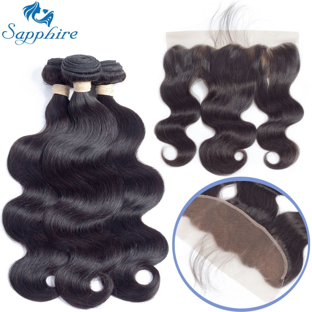 Sapphire Malaysian Body Wave Remy Human Hair Bundles With Lace Frontal 1B# Color For Hair Salon High Ratio Longest Hair PCT 15%