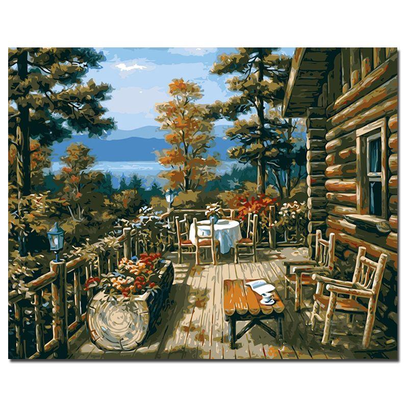 PHKV Forêt Maison Peinture À L'huile Par Numéros DIY Numérique Photos Coloration Par Numéro Sur Toile Unique Gifts Décoration Affiche