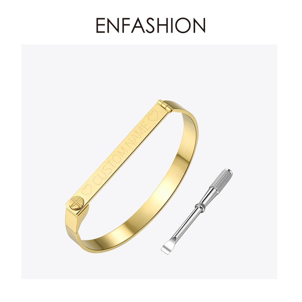 Bracelet de nom gravé personnalisé Enfashion couleur or Bracelet à vis amoureux Bracelets pour femme hommes Bracelets de manchette Bracelets