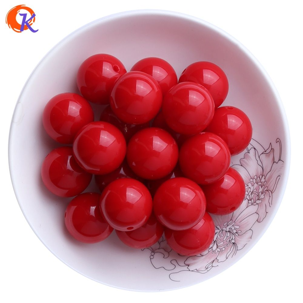 S34 Cordial Design 20MM 100pcs Red Chunky Gumball Bubblegum Acrylic Solid Beads Colorful Chunky Beads For Jewelry CDWB-512007