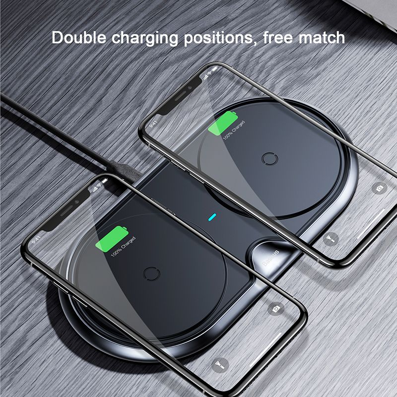 BASEUS Dual Seat Qi Wireless Charger 10W Quick Charging Two Mobile Phone Same Time For iPhone X 8 Samsung Note 9 S9 Universal