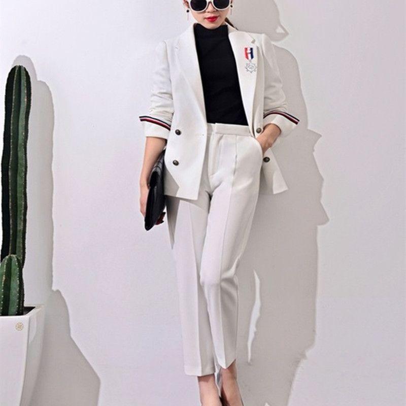 2017 New Formal Suits for Women Casual Office Business Suitspants Work Wear Sets Uniform Styles Elegant Pant Suits J17CT0006