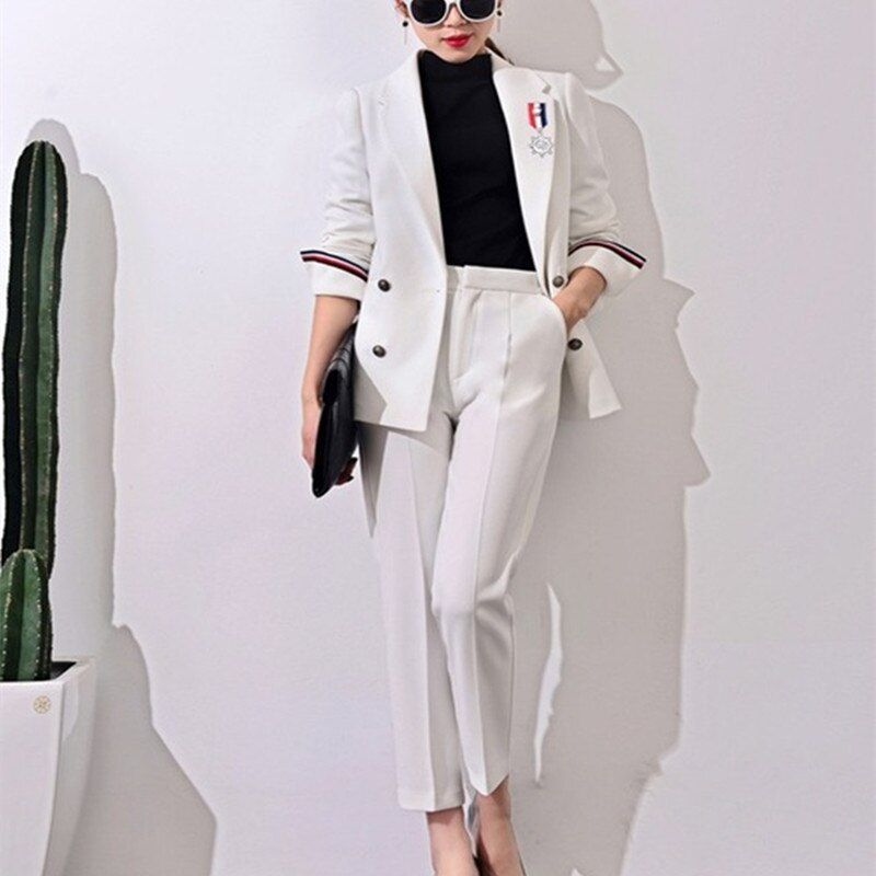 2017 New Formal Suits for Women Casual Office Business Suitspants Work Wear Sets Uniform Styles Elegant Pant Suits J17CT0006