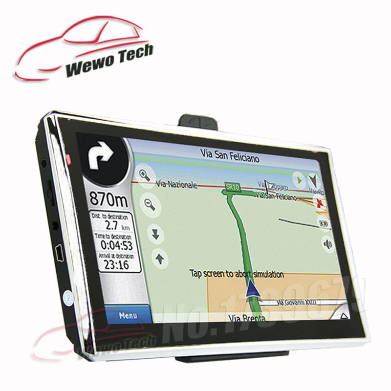 7 inch HD Car Navigator  128MB 4GB Wince6.0 800MHZ 2016 Map Russia/Belarus/Spain/ Europe/USA+Canada/Israel Gps Navigation