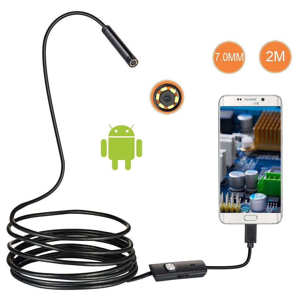 7mm Lens Android OTG USB Endoscope Camera 2M Smart Android Phone USB Borescope Inspection Snake Tube Camera 6LED
