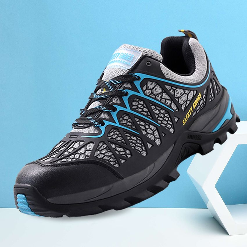 Men's Breathable Air Mesh Steel Toe Safety Shoes with Kevlar Puncture Proof Midsole Slip Resistance Light Weight Work Boots