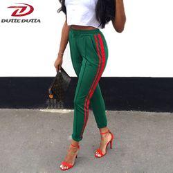 DutteDutta 2017 Femmes Taille Haute Harem Pantalon Automne Élastique Casual Pantalon Femelle D'entraînement Vert Rayé Sportives Pantalon Pantalon