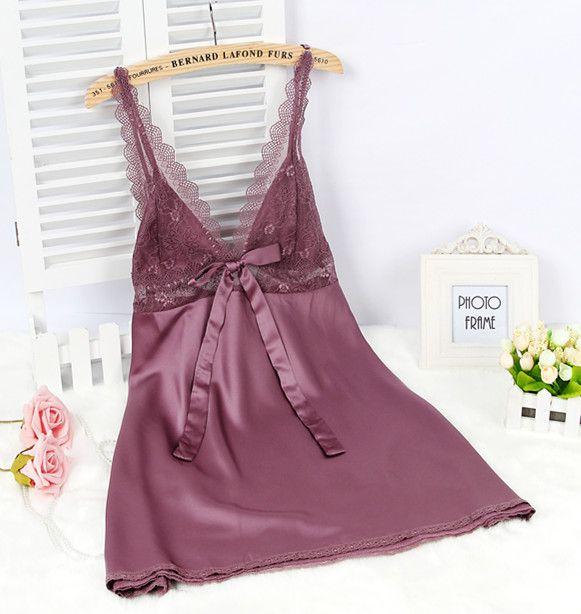 Dames Sexy soie Satin chemise de nuit dentelle chemise de nuit sans manches nuisettes col en v robe de nuit d'été sommeil robe de nuit pour les femmes