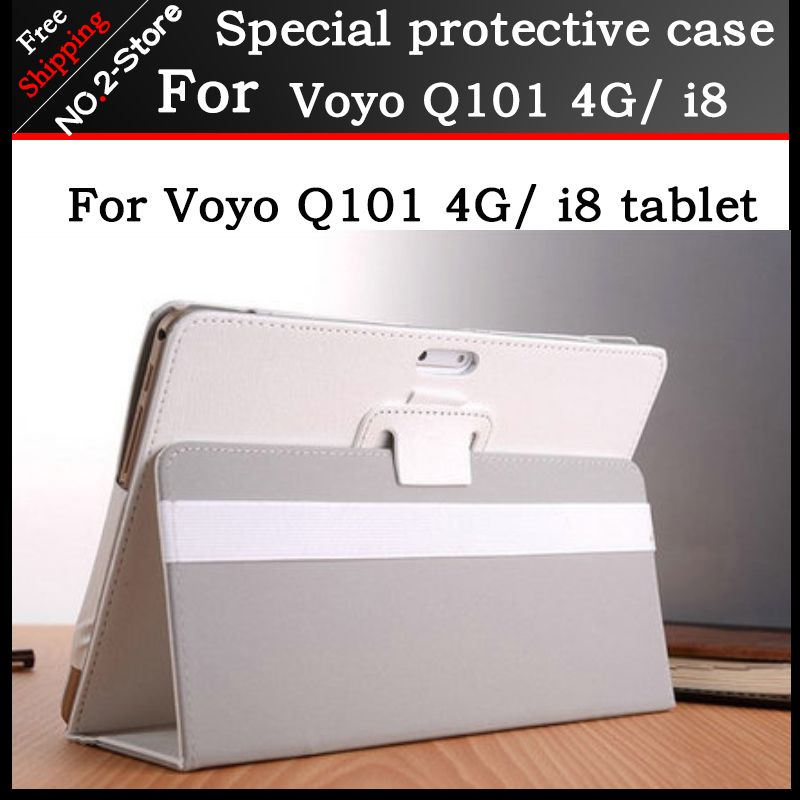Simple 2 fold Folio PU leather stand cover case for VOYO Q101 4G/i8 call phone 10.1inch tablet pc,black and white color+gift