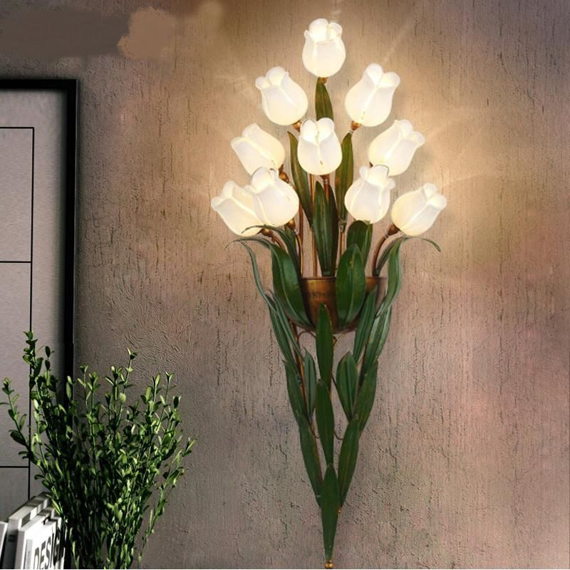 Flowers bouquet LED wall lights bedside bedroom bed balcony stairs with walls fashion retro lounge led wall lamps ZL373