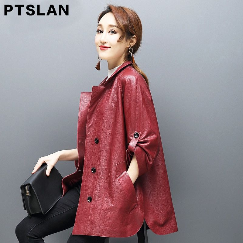 Ptslan 2017 New Women'S Genuine Leather Jacket Lady'S Real Natural Sheepskin Jackets Good Quality P2574