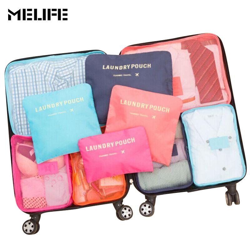 MELIFE 6 Pcs/set Travel Luggage bag Men women Fashion Organizers Packing cubes High-quality Double Zipper Waterproof Mesh bags