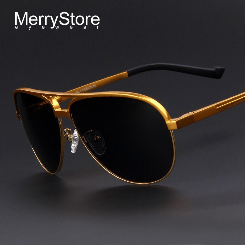 Merrystore брендовая мужская алюминиевый сплав поляризованные солнцезащитные очки Щит Сверхлегкий Золотая рамка полярных очки солнцезащитные ...