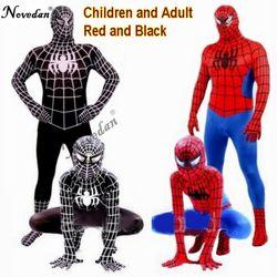 Костюм Человека-паука красного и черного цвета, костюм Человека-паука, костюмы Человека-паука для взрослых и детей, одежда для косплея Челов...
