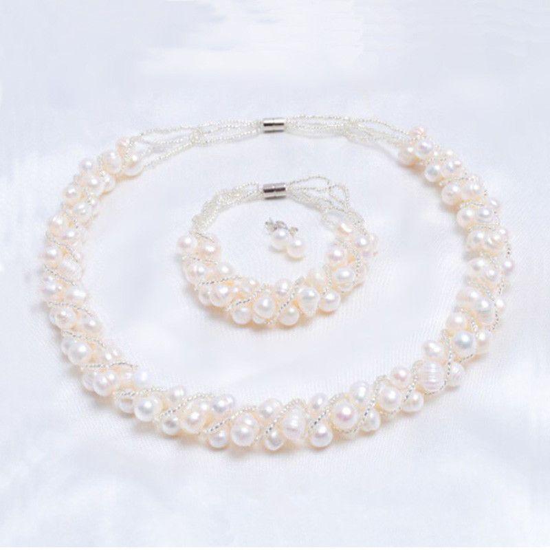 ASHIQI véritables perles d'eau douce naturelles ensembles de bijoux faits à la main et plus collier Bracelet 925 boucles d'oreilles en argent pour les femmes cadeau de mariage