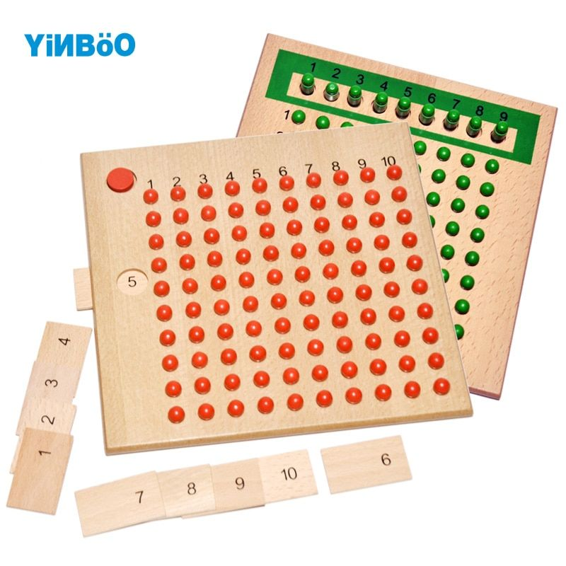 Montessori Educational Wooden Toy Multiplication and Division Bead Board for Early Childhood Preschool <font><b>Training</b></font> -Family Version