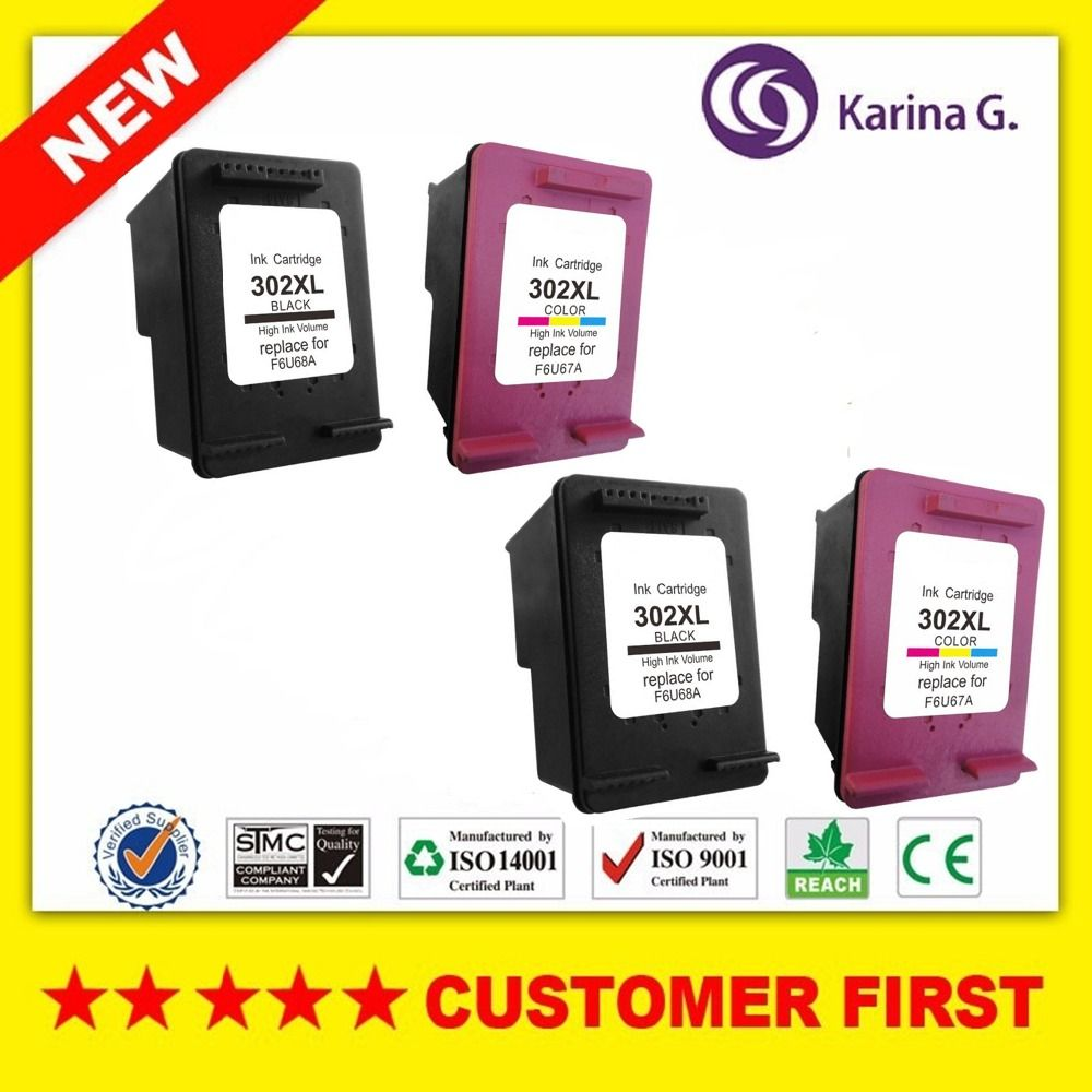 2sets for HP302 XL Ink Cartridge for HP302XL 302 For HP DeskJet 1110 2130 for HP Envy 4520 NS45
