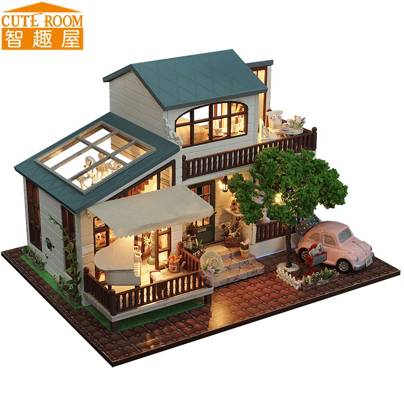 CUTE ROOM DIY Wooden House Miniaturas with Furniture DIY Miniature House Dollhouse Toys for Children Christmas and Birthday A39