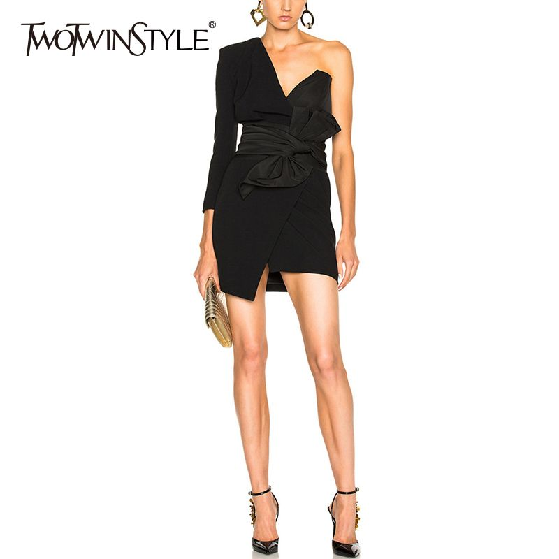TWOTWINSTYLE Strapless Dress For Women Off Shoulder Irregular Lace Up Bow High Waist Mini Dresses 2018 Spring Sexy Tide Clothing