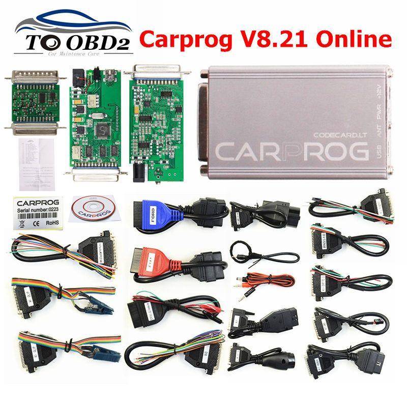 CARPROG V8.21 Online Version Keygen V10.93 Car ECU Repair Tool Car Prog 8.21 Perfect Add Authorization 21 Adapters Full Sets