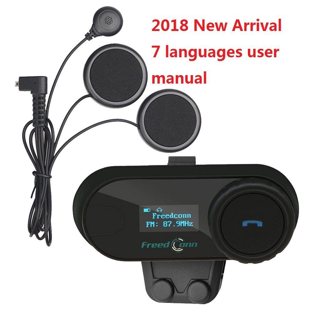 FreedConn 2018 TCOM-SC BT Interphone Motorcycle Helmet Wireless Bluetooth Headset Intercom with LCD FM Radio Soft Headphone