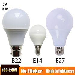 LED Ampoule E27 LED lumière B22 LED lampe E14 Lampada Ampoule Bombilla Pouvoir réel 3 W 5 W 7 W 9 W 12 W 15 W 220 V Froid/Chaud Blanc table lampe