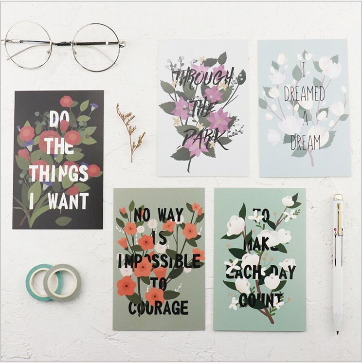 30Pcs/pack Retro Flower Memory Wonderful World Postcard Greeting Card Envelope Gift Birthday Card Message Card Escolar