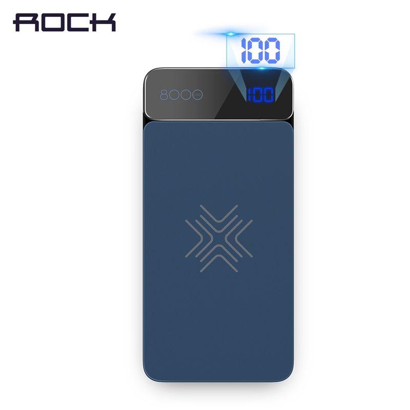 Rock 8000 мАч Беспроводной Зарядное устройство Запасные Аккумуляторы для телефонов для IPhone X 8 Plus, Портативный Беспроводной зарядки внешних Бат...