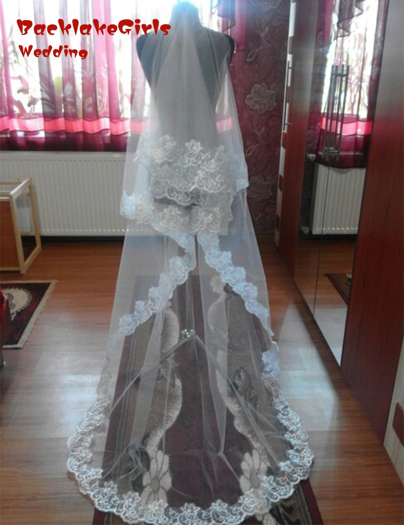 wholesale 100% Real Photos Romantic 2016 White Ivory one layer 2.6M wedding dress accessories Cathedral bridal veils