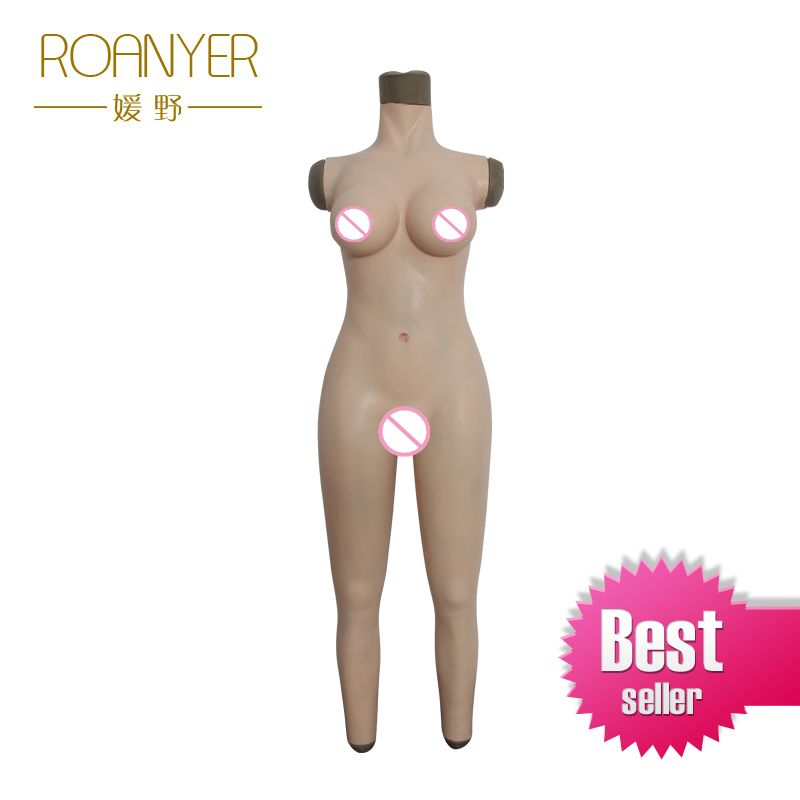 Roanyer silicone breast forms shemale whole body suits female artificial boobs with penetrable fake vagina for crossdresser