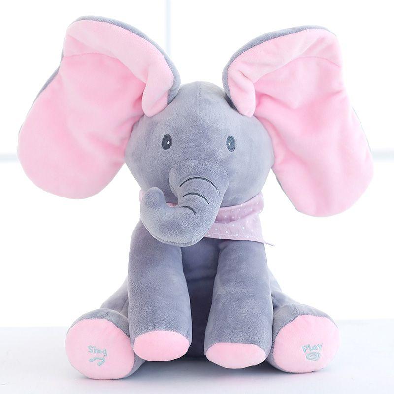 Nouveau Style Peek A Boo Éléphant jouets En Peluche Éléphant Poupée Jouer de La Musique Éducatif Éléphant Anti-stress Jouet pour Enfants
